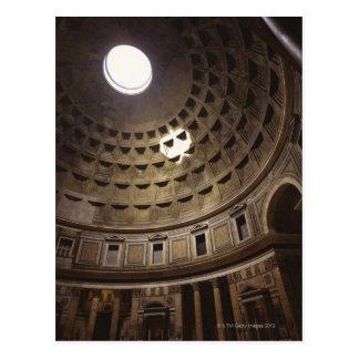 Light shining through oculus in The Pantheon in Postcard