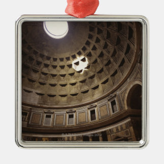 Light shining through oculus in The Pantheon in Square Metal Christmas Ornament