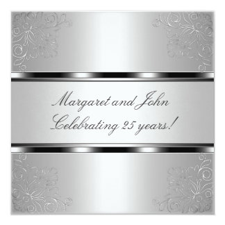 Light Silver Floral 25th Anniversary Party Event 5.25x5.25 Square Paper Invitation Card