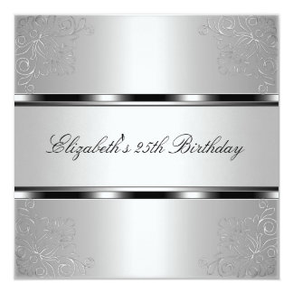 Light Silver Floral 25th Birthday Party Event Card