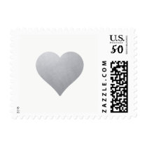 Light Silver Heart on White   Elegant Wedding Postage