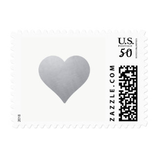 Light Silver Heart on White | Elegant Wedding Postage