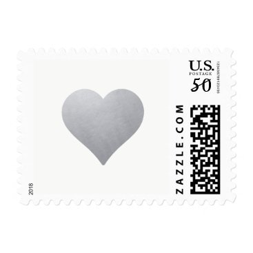 Valentines Themed Light Silver Heart on White | Elegant Wedding Postage
