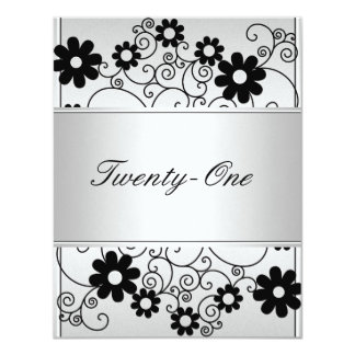Light Silver Metal Black Flowers 21st Birthday Card