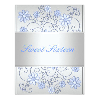 Light Silver Metal Pale Blue Flowers 16th Birthday Card