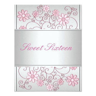 Light Silver Metal Pale Pink Flowers 16th Birthday Invite