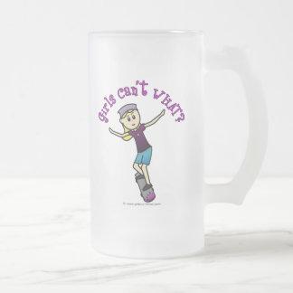 Light Skateboarder Frosted Glass Beer Mug