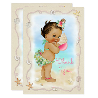 Light Skin Ethnic Beach Baby Conch Shell Thank You Card