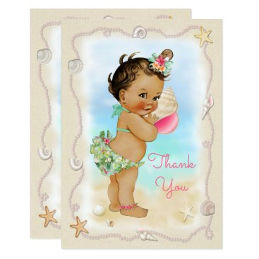 Beach Themed Light Skin Ethnic Beach Baby Conch Shell Thank You Card