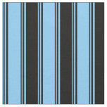 [ Thumbnail: Light Sky Blue and Black Colored Stripes Fabric ]