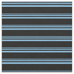 [ Thumbnail: Light Sky Blue and Black Lined Pattern Fabric ]