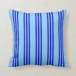 [ Thumbnail: Light Sky Blue and Blue Colored Pattern Pillow ]