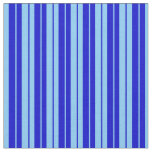 [ Thumbnail: Light Sky Blue and Blue Pattern of Stripes Fabric ]