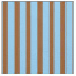 [ Thumbnail: Light Sky Blue and Brown Stripes Pattern Fabric ]