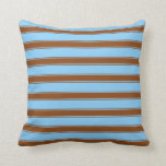 [ Thumbnail: Light Sky Blue and Brown Stripes Pattern Pillow ]
