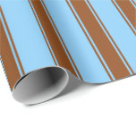 [ Thumbnail: Light Sky Blue and Brown Stripes Pattern Wrapping Paper ]