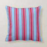 [ Thumbnail: Light Sky Blue and Crimson Colored Lines Pattern Throw Pillow ]