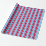 [ Thumbnail: Light Sky Blue and Crimson Colored Lines Pattern Wrapping Paper ]