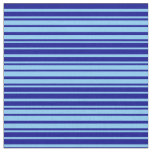[ Thumbnail: Light Sky Blue and Dark Blue Pattern of Stripes Fabric ]