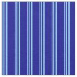 [ Thumbnail: Light Sky Blue and Dark Blue Striped Pattern Fabric ]