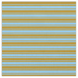 [ Thumbnail: Light Sky Blue and Dark Goldenrod Colored Pattern Fabric ]