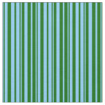 [ Thumbnail: Light Sky Blue and Dark Green Colored Pattern Fabric ]