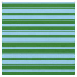 [ Thumbnail: Light Sky Blue and Dark Green Lined Pattern Fabric ]
