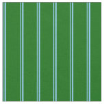 [ Thumbnail: Light Sky Blue and Dark Green Lines Pattern Fabric ]
