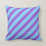 [ Thumbnail: Light Sky Blue and Dark Orchid Colored Pattern Throw Pillow ]