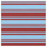 [ Thumbnail: Light Sky Blue and Dark Red Colored Stripes Fabric ]