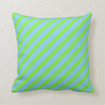 [ Thumbnail: Light Sky Blue and Green Lines/Stripes Pattern Throw Pillow ]