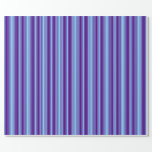[ Thumbnail: Light Sky Blue and Indigo Colored Pattern Wrapping Paper ]