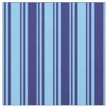 [ Thumbnail: Light Sky Blue and Midnight Blue Lined Pattern Fabric ]