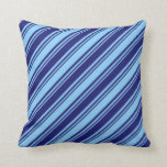 [ Thumbnail: Light Sky Blue and Midnight Blue Lined Pattern Throw Pillow ]