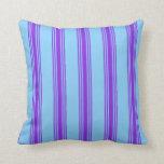 [ Thumbnail: Light Sky Blue and Purple Pattern Throw Pillow ]