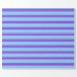 [ Thumbnail: Light Sky Blue and Purple Pattern Wrapping Paper ]