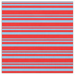 [ Thumbnail: Light Sky Blue and Red Colored Lines Pattern Fabric ]
