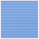 [ Thumbnail: Light Sky Blue and Royal Blue Colored Stripes Fabric ]