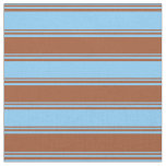 [ Thumbnail: Light Sky Blue and Sienna Striped/Lined Pattern Fabric ]