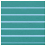 [ Thumbnail: Light Sky Blue and Teal Striped Pattern Fabric ]