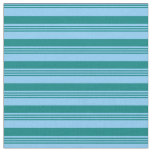 [ Thumbnail: Light Sky Blue and Teal Stripes Pattern Fabric ]