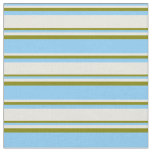 [ Thumbnail: Light Sky Blue, Beige & Green Colored Pattern Fabric ]
