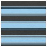 [ Thumbnail: Light Sky Blue & Black Colored Pattern Fabric ]