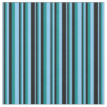 [ Thumbnail: Light Sky Blue, Black & Dark Cyan Pattern Fabric ]