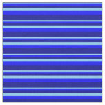 [ Thumbnail: Light Sky Blue, Blue, and Dark Blue Colored Lines Fabric ]