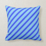 [ Thumbnail: Light Sky Blue & Blue Colored Pattern of Stripes Throw Pillow ]
