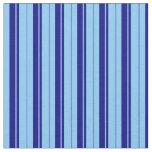 [ Thumbnail: Light Sky Blue & Blue Lined Pattern Fabric ]