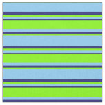[ Thumbnail: Light Sky Blue, Chartreuse & Midnight Blue Lines Fabric ]