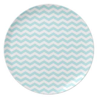 Light Sky Blue, Chevron Stripes Dinner Plates