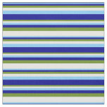 [ Thumbnail: Light Sky Blue, Dark Blue, Green, and Mint Cream Fabric ]